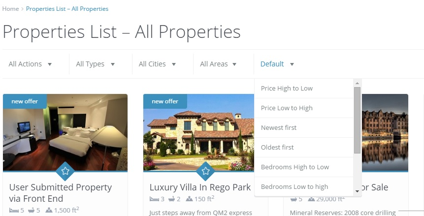 properties list - new sort by options