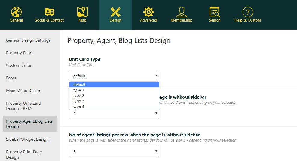 property card admin wpresidence
