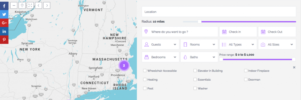 Half Map search filters with Wp Rentals