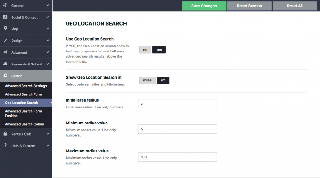 Radius Geolocation Search in Wp Rentals